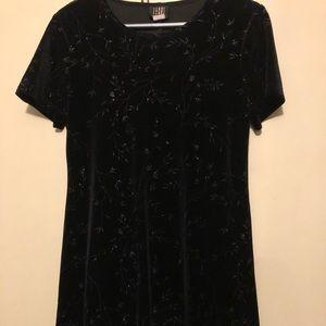 Vintage velvet flower sparkle swing dress size 8